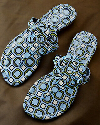 7c63ec59d2fa TORY BURCH Miller Sandals Patent Leather Chambray Blue Octagon Print Size 6  M