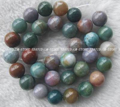 """12mm Natural India Agate Round Loose Beads 16"""""""
