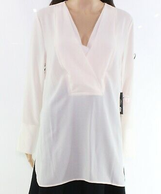 ff1d7e9d6f3b0e Vince Camuto NEW White Ivory Women s Small S Doubled V-Placket Blouse  89   046
