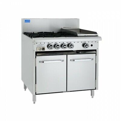 LUUS Essentials 4 Burner 300mm Griddle Flat Top Hot Plate & Oven CRO-4B3P LPG