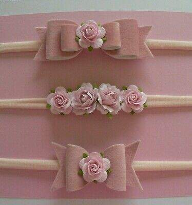 Three Velvet Pink & Mulberry Flower Newborn/Baby/Toddler/Girl Nylon Headbands