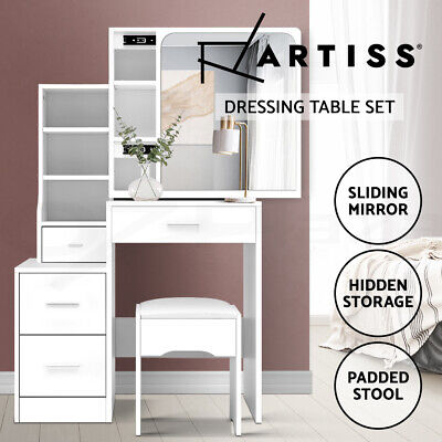 Artiss Dressing Table Stool Mirror Jewellery Cabinet Makeup Storage Drawer White