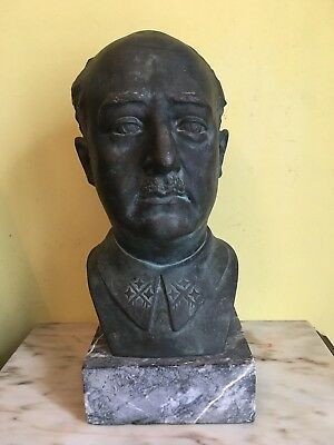 Busto De Bronche De Francisco Franco Firmando Y Sello De Fundación !