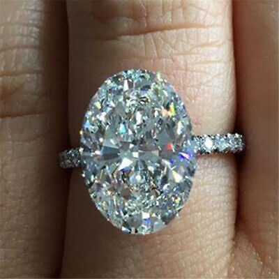 Luxury Big Oval White Sapphire Engagement Ring 925 Silver Wedding Jewelry Sz 5-9