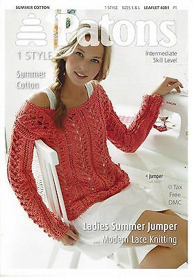 VAT FREE KNITTING PATTERN ONLY Patons Ladies Summer Jumper 4081 New