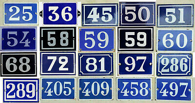 Old French house number - thousands of vintage steel enamel examples listed