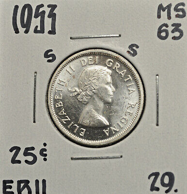 1953 SF Canada 25 cents MS-63