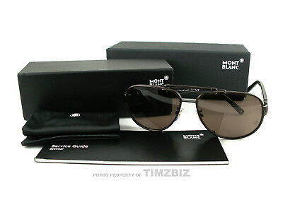 459265fce6 New Mont Blanc Sunglasses MB367 S 48J Brown Leather Tortoise Authentic