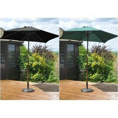 2.4 M Wooden parasol Umbrella Garden Patio NEW 2 summer colours