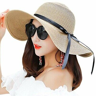 350cde3995dc0 Women s Big Brim Sun Hat Floppy Foldable Bowknot Straw Hat Summer Beach Hat