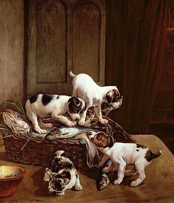 """Oil painting Hand painted animals puppy little dogs with cat Kittens fish 36"""""""