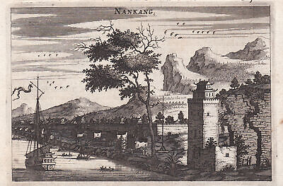 Nankang China view Ansicht Asia Mauer wall Kupferstich antique print Nieuhof