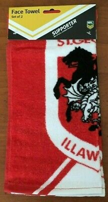 Nrl  St George Illawarra Dragons Face Washer Face Towel Set Of 2  Brand New