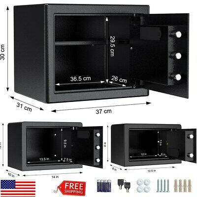S/M/L Digital Electronic Safe Box Keypad Lock Gun Money Cashes Home Security USA