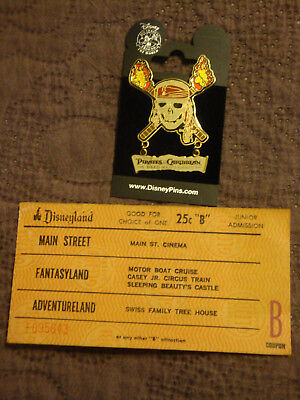 Disneyland 25 Cent B Ticket And Pirates Of The Caribbean Skull Dangle Pin
