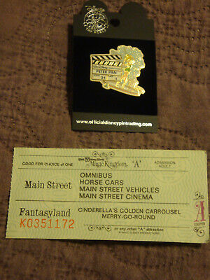Disneyworld Adult A Ticket With 6 Ride Choices & Tinkerbell 2005 Peter Pan Pin