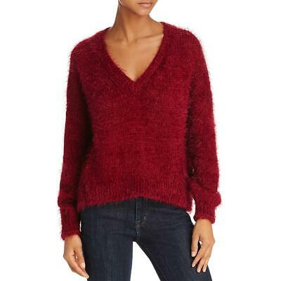 Beltaine Womens Pink Fuzzy Ribbed Trim Warm Crewneck Sweater Top S BHFO 2485