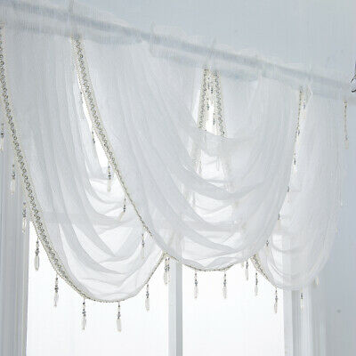 1 Panel Glitter Tassel Window Valance Sheer Curtain Tiers Balloon Shades