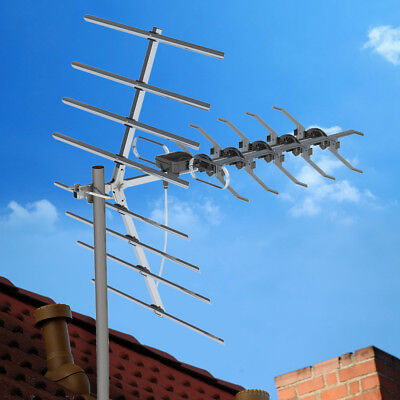 100 Mile HDTV 1080p Outdoor HD TV Amplified Antenna Digital UHF with Mount Pole