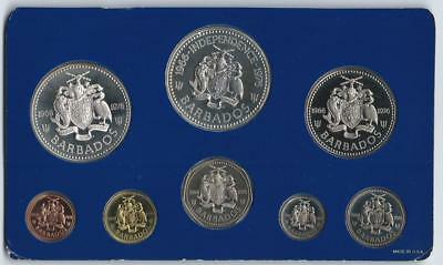 BARBADOS - 1966-1976 10th Anniversary of Independence 8pc PROOF Set in FM card