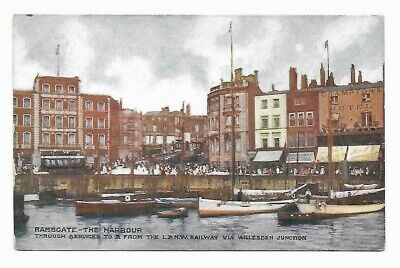 LNWR, London & North Western Railway Postcard, Official. Ramsgate - The Harbour