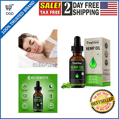 Hemp Oil Drops Organic Extract Herbal Pain Relief Stress Anxiety Sleep Support