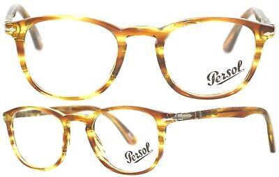 6dfdc19876 NEW PERSOL 3143V 1050 Striped Yellow Eyeglasses Rx Italy 49-21 ...