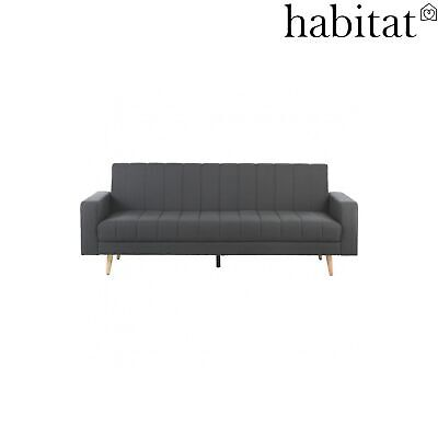 Habitat JOJY 3 Seater Sofa Bed Fabric (Click Clack) Charcoal