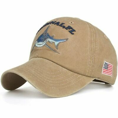 Baseball Cap Fishing Shark USA Flag Cotton Washed Vintage Original FL Embroidery