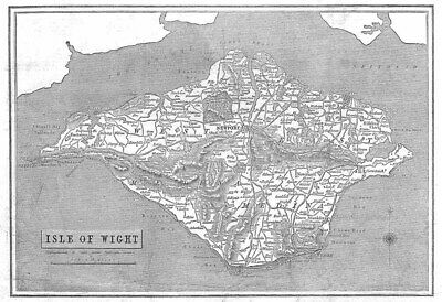 Map of the Isle of Wight - Antique Print 1844