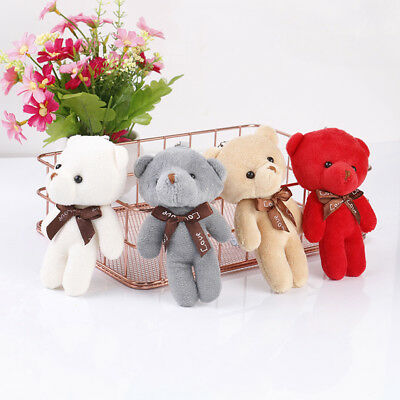 Mini plush bear stuffed cartoon animal cute key chain pendant soft toy pF