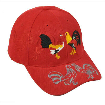 Rooster Fight Cockfight Gallos Hen Hat Cap Curved Bill Adjustable Gallo Red
