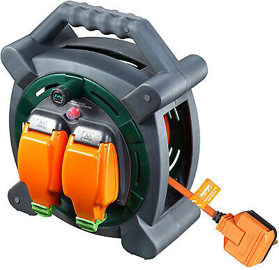 Extension Outdoor IP Rated Cable Reel Lead 20m Waterproof 2X Sockets Garden New