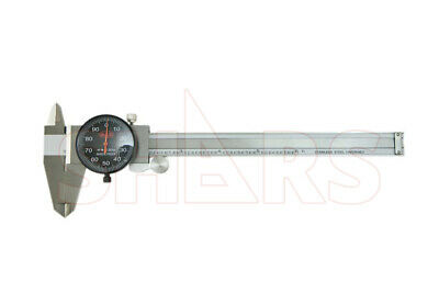 """6"""" DIAL CALIPER SHOCK PROOF .001"""" STAINLESS 4 WAY BLACK FACE + Inspection Report"""