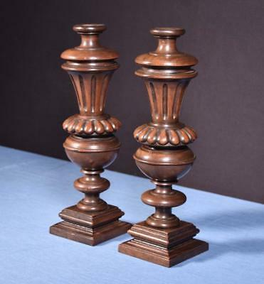 "*14"" Pair of French Antique Solid Walnut Posts/Pillars/Columns/Balusters"