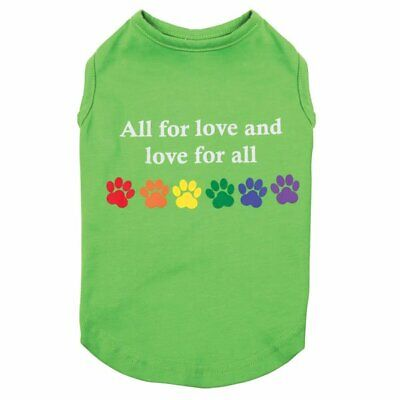 Love For All Dog Shirts Green & Rainbow Colorful Pawprints Equality Tank Top