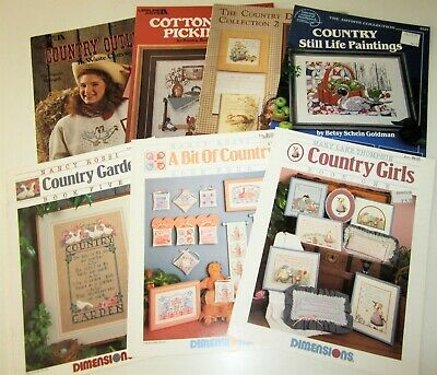 Lot of 7 Vintage COUNTRY Counted Cross Stitch Leaflets
