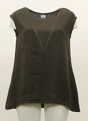 9a2d0c08b22 Hari Casuals Spring Summer Linen Cap Sleeve Tank Top Shirt Brown Large New