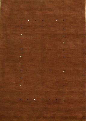 Abstract Contemporary Gabbeh Oriental Hand-Knotted Rust 6'x8' Wool Area Rug