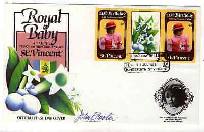 St Vincent 1982 Royal Baby Overprinted First Day Cover  Signed
