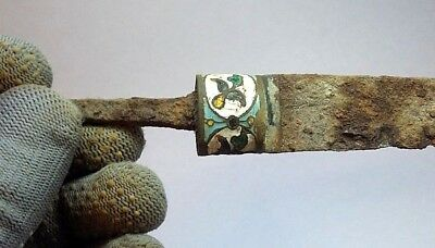 ANCIENT RARE 100% Authentic Medieval Iron KNIFE with enamel ca 16-17 century AD