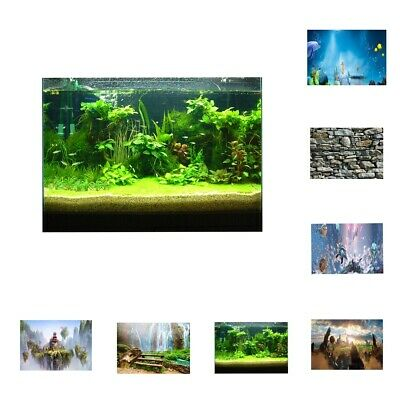 3D Aquarium Background Fish Tank Backdrop Static Cling Wallpaper Sticker 7 Style