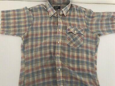 126fd726 Mens Vintage Levis Short Sleeve Plaid Shirt Button Down Beige/Red/Blue