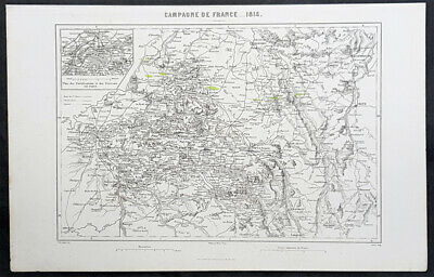 1835 M A Thiers Antique Military Map of French Campaign of 1814, Paris, Napoleon
