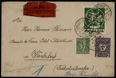 Germany 1922 Inflation 10 Mark Bavaria Overprint Express Cover Expertized 72053