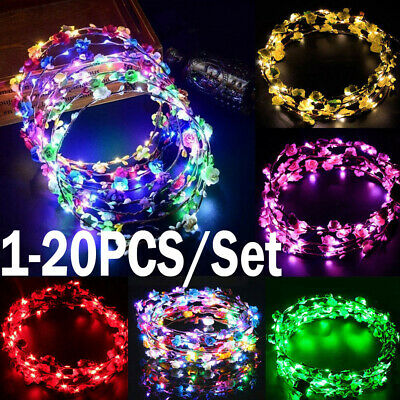 Flower Light Headband Glowing LED Wreath Floral Garland Girl Lady Hairband Lot