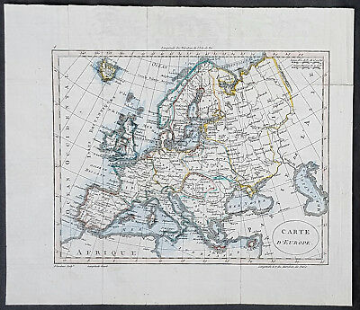 1802 Alexandre Blondeau Antique Map of Europe, Extended Poland, Ottoman Empire