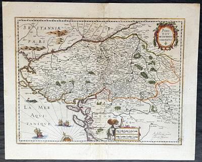 1638 Joducus Hondius Antique Map Poitou Region, France, Huguenots Fled to Acadia