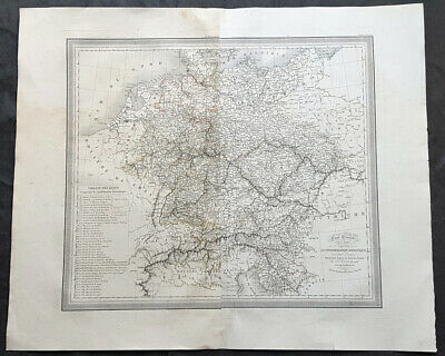1824 Louis Vivien Large Antique Map of the Confederation of German States