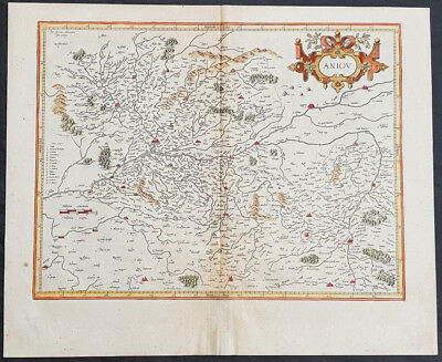 1628 Henricus Hondius Antique Map of the Duchy of Anjou, Maine-et-Loire, France
